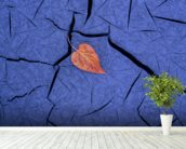 Autumn Colored Cottonwood Leaf mural wallpaper in-room view