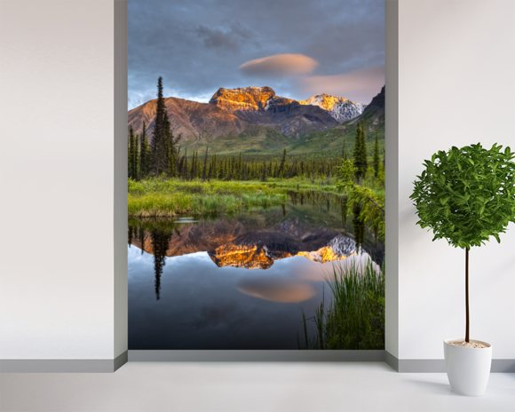 Reflection Of Skookum Volcano mural wallpaper room setting