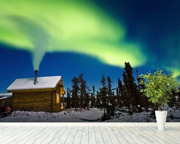 Aurora Over Cabin In The White Mountians mural wallpaper room setting