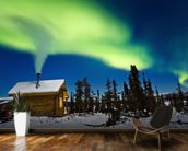 Aurora Over Cabin In The White Mountians mural wallpaper kitchen preview
