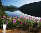 Auke Lake On A Clear Day With Fireweed wallpaper mural kitchen preview