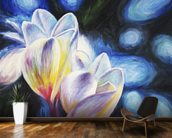 Rainy Day Lovers, Two Plumeria blossoms mural wallpaper kitchen preview