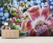 Colorful abstract painting of a Western Woodrose wall mural living room preview