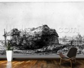 Landscape with a Cottage and Haybarn, etched by James Bretherton (etching) wallpaper mural kitchen preview