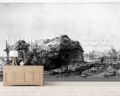 Landscape with a Cottage and Haybarn, etched by James Bretherton (etching) wallpaper mural living room preview