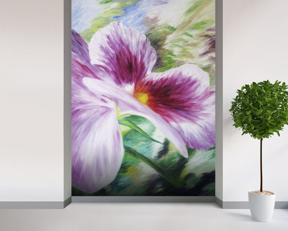 Abstract Painting of a Pansy flower wallpaper mural room setting