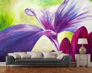 Abstract Painting of Pink and Purple Flowers mural wallpaper