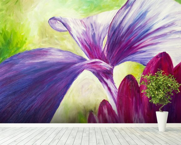 Abstract Painting of Pink and Purple Flowers Wall Mural Abstract
