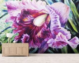Abstract Pink And Purple Orchid - Oil Painting mural wallpaper