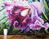 Abstract Pink And Purple Orchid - Oil Painting mural wallpaper kitchen preview
