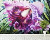 Abstract Pink And Purple Orchid - Oil Painting mural wallpaper in-room view