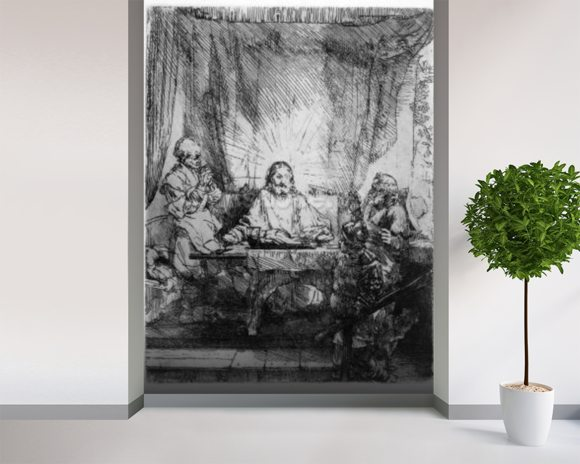 Supper at Emmaus, 1654 (etching) wall mural room setting
