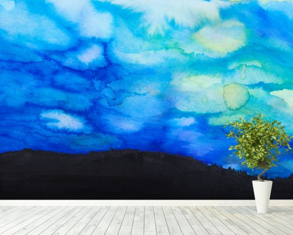 Watercolor painting of a Dramatic Sky with Blue Cloud wallpaper mural room setting