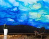 Watercolor painting of a Dramatic Sky with Blue Cloud wallpaper mural kitchen preview