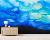 Watercolor painting of a Dramatic Sky with Blue Cloud wallpaper mural living room preview