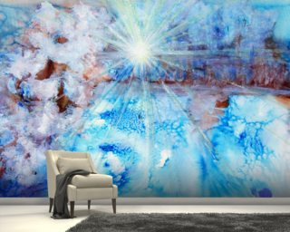 Abstract Watercolour Painting with a Starburst wall mural