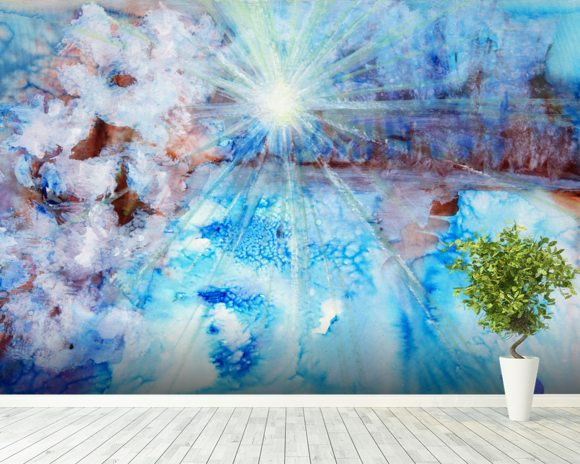 Abstract Watercolour Painting with a Starburst wall mural room setting
