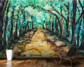 Watercolour Painting of a path lined with Trees wallpaper mural kitchen preview