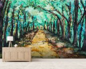 Watercolour Painting of a path lined with Trees wallpaper mural living room preview