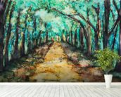 Watercolour Painting of a path lined with Trees wallpaper mural in-room view