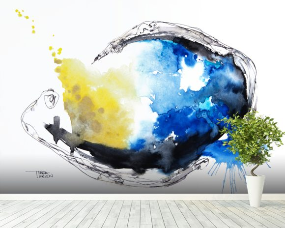 Watercolour Abstract Painting with a Fish Shape mural wallpaper room setting