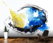 Watercolour Abstract Painting with a Fish Shape mural wallpaper kitchen preview