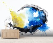 Watercolour Abstract Painting with a Fish Shape mural wallpaper living room preview