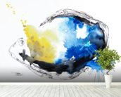 Watercolour Abstract Painting with a Fish Shape mural wallpaper in-room view