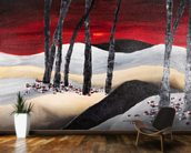 Painting of a Dramatic Landscape with Red Sky wall mural kitchen preview