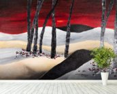 Painting of a Dramatic Landscape with Red Sky wall mural in-room view