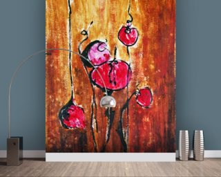 Abstract Painting with Buds in Shades of Red mural wallpaper