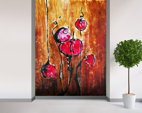 Abstract Painting with Buds in Shades of Red mural wallpaper room setting