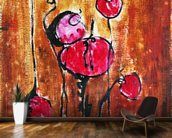 Abstract Painting with Buds in Shades of Red mural wallpaper kitchen preview