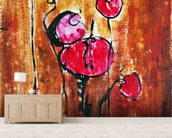 Abstract Painting with Buds in Shades of Red mural wallpaper living room preview