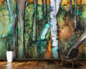 Watercolor Painting of a Colorful Forest wall mural kitchen preview