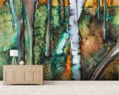 Watercolor Painting of a Colorful Forest wall mural living room preview