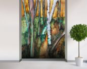 Watercolor Painting of a Colorful Forest wall mural in-room view