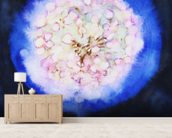 Watercolor Painting of an Illuminated Dandilion wallpaper mural living room preview