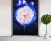 Watercolor Painting of an Illuminated Dandilion wallpaper mural in-room view