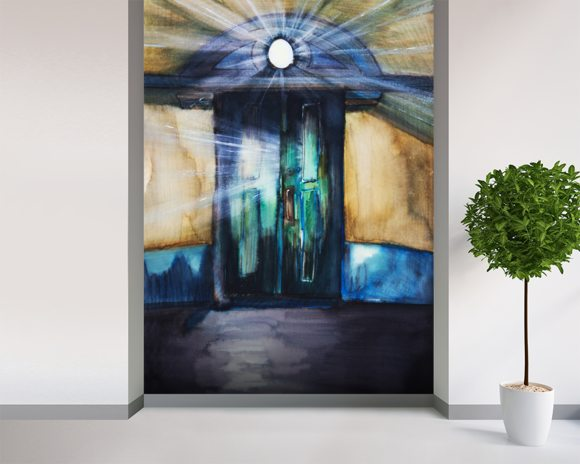Watercolor Painting of an Opening Door Filled with Light mural wallpaper room setting