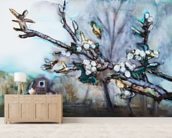 Watercolor Painting of a Barn Scene wall mural living room preview