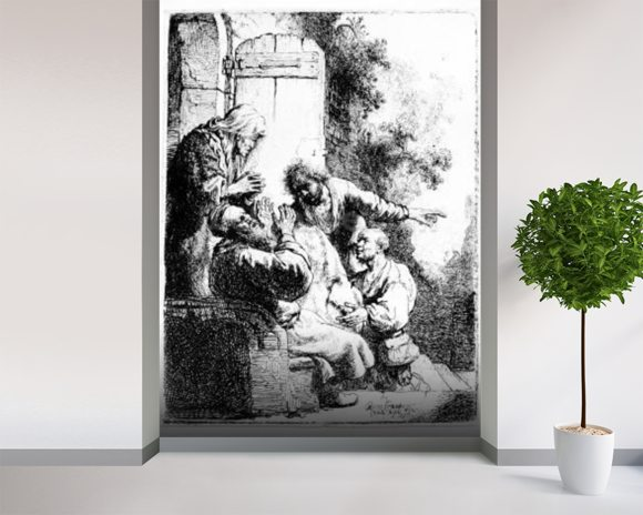 Josephs coat brought to Jacob, c.1633 (etching) wallpaper mural room setting