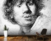 Self-portrait, 1630 (etching) wallpaper mural kitchen preview