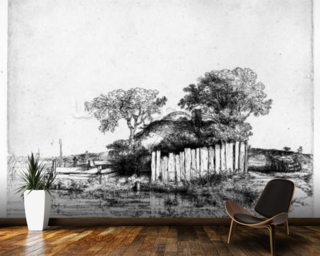 Cottage with a white paling, 1648 (etching) wallpaper mural