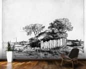 Cottage with a white paling, 1648 (etching) wallpaper mural kitchen preview