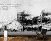 Landscape with country lane and cottages, etched by Benjamin Wilson, 1751 (etching) mural wallpaper kitchen preview