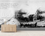 Landscape with country lane and cottages, etched by Benjamin Wilson, 1751 (etching) mural wallpaper living room preview