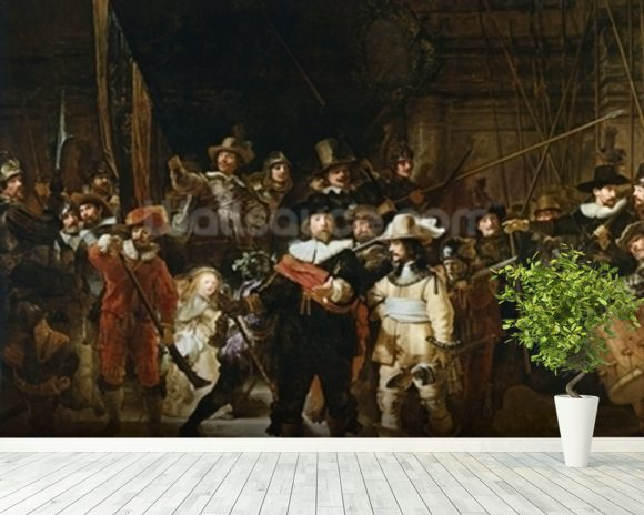The Nightwatch (colour litho) wall mural room setting