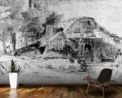 Cottage on the Outskirts of a wood (pen, ink & brown wash on paper) wallpaper mural kitchen preview