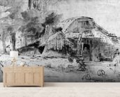 Cottage on the Outskirts of a wood (pen, ink & brown wash on paper) wallpaper mural living room preview